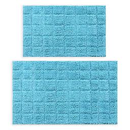 "Castle Hill London Summer Tile 2-Piece 21"" x 34"" and 24"" x 40"" Bath Mat Set in Aqua"