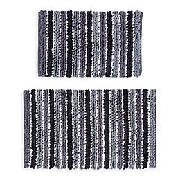 Castlehill Chunky Chenille Bath Rugs in Black/White (Set of 2)