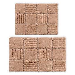 "Castlehill 20"" x 30"" and 24"" x 40"" Chakkar Board Bath Rugs in Natural (Set of 2)"
