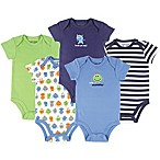 Luvable Friends® Size 12-18M 5-Pack Monster Short-Sleeve Bodysuits in Green