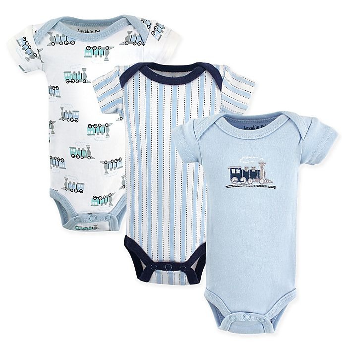Alternate image 1 for Luvable Friends® 3-Pack Preemie Train Bodysuits in Blue