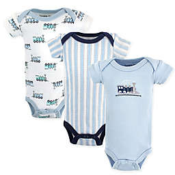 Luvable Friends® 3-Pack Preemie Train Bodysuits in Blue