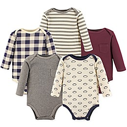 Hudson Baby® 5-Pack Football Long Sleeve Bodysuits in Red