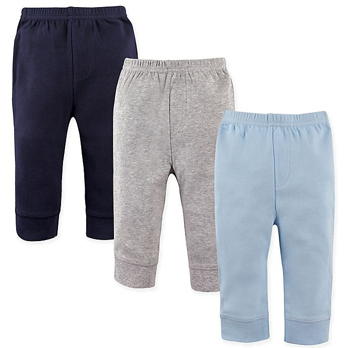 Alternate image 1 for Luvable Friends® 3-Pack Tapered Pants in Blue/Grey