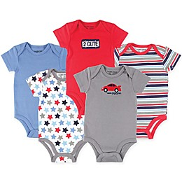 Luvable Friends® 5-Pack Car Bodysuits in Red