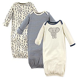 Touched by Nature Size 0-6M 3-Pack Organic Cotton Elephant Gowns in Grey/White