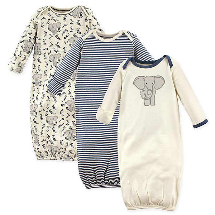 Alternate image 1 for Touched by Nature Size 0-6M 3-Pack Organic Cotton Elephant Gowns in Grey/White