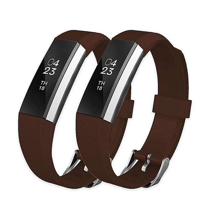Alternate image 1 for Silicone Bands for Fitbit Alta™ & Alta HR™ in Coffee (Set of 2)