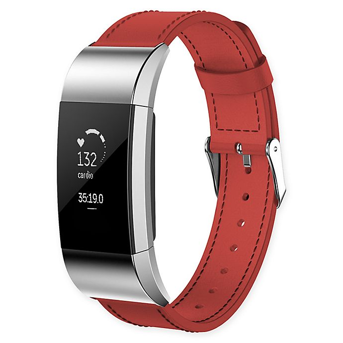 Alternate image 1 for Large Leather Band for Fitbit Charge 2™ in Red
