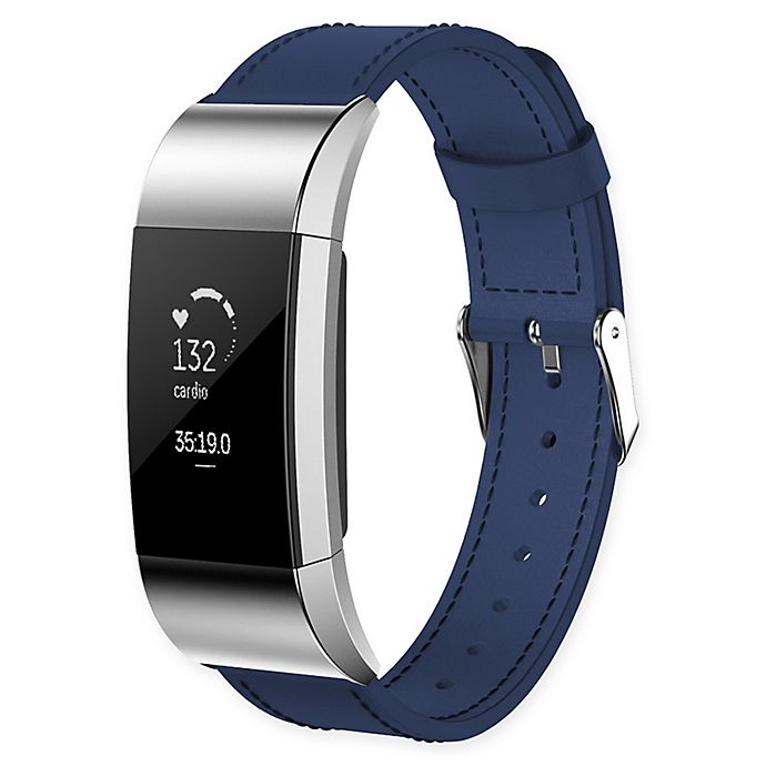 Alternate image 1 for Large Leather Band for Fitbit Charge 2™ in Blue