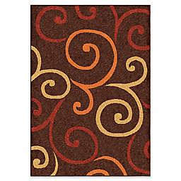 Orian Rugs Veranda Semi Swirls Woven Area Rug in Brown
