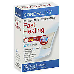 Core Values™ 15-Count Premium Adhesive Fast-Healing Bandages in All One Size