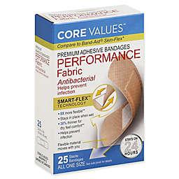 Core Values™ 25-Count Premium Adhesive Antibacterial Performance Fabric Bandages