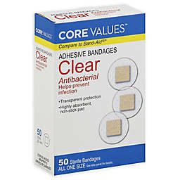 Core Values™ 50-Count Clear Antibacterial Spot Adhesive Bandages