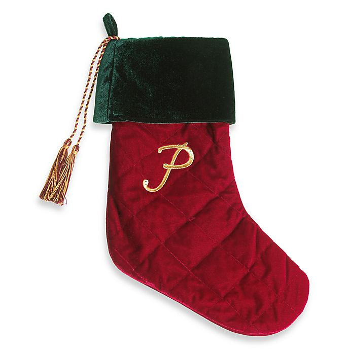 harvey lewis monogram initial p christmas stocking made with crystals from swarovski