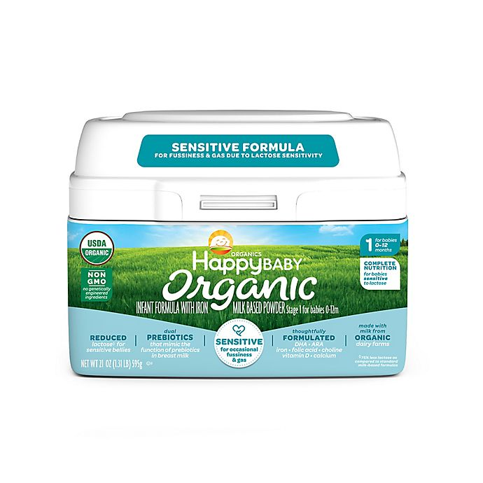 Alternate image 1 for Happy Baby™ 21 oz. Stage 1 Organic Sensitive Infant Formula with Reduced Lactose