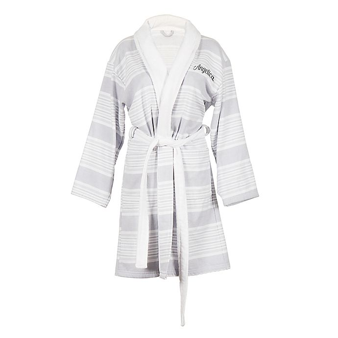 Alternate image 1 for Cathy's Concepts One-Size Striped Bathrobe in White/Grey