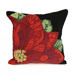 Liora Manne Frontporch Poinsettia Square Indoor/Outdoor Throw Pillow