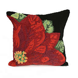 Liora Manne Frontporch Poinsettia Square Indoor/Outdoor Throw Pillow in Black
