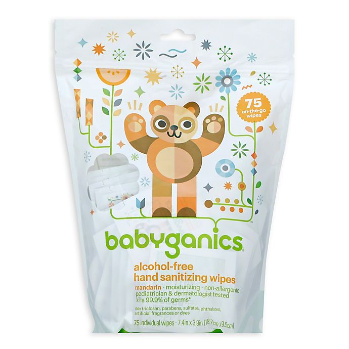 Alternate image 1 for Babyganics® 75-Count Mandarin Scented Alcohol-Free Hand Sanitizing Wipes