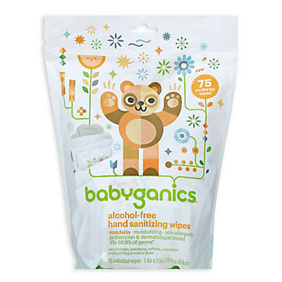 Babyganics® 75-Count Mandarin Scented Alcohol-Free Hand Sanitizing Wipes