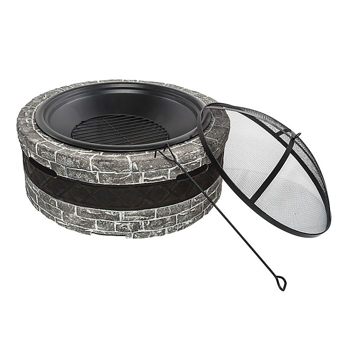 Alternate image 1 for Sun Joe Cast Stone Wood-Burning Fire Pit in Charcoal Grey