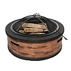 Sun Joe Rustic Wood Cast Stone Wood-Burning Fire Pit in Brown
