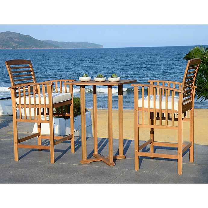 Alternate image 1 for Safavieh Pate 3-Piece Bar Table Bistro Set in Teak