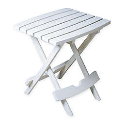Adams Manufacturing Rectangle All-Weather Quick Fold Side Table in White