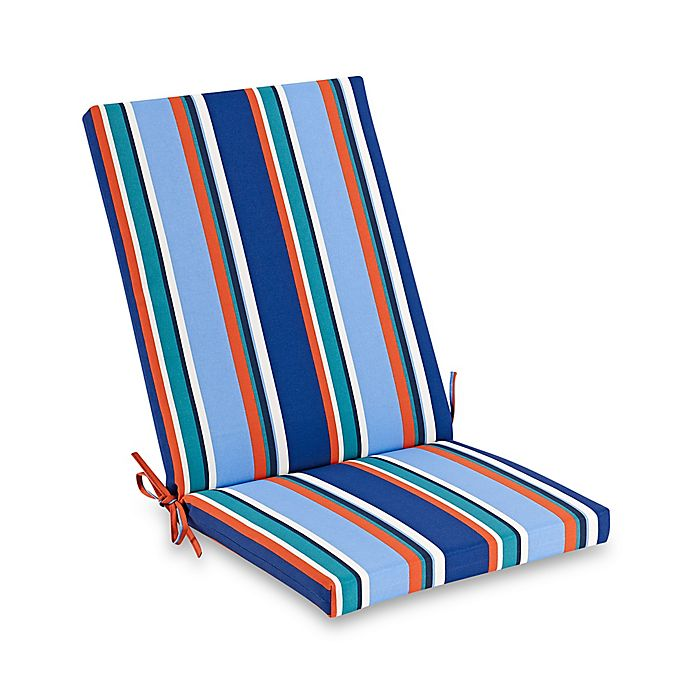 Brady Stripe Outdoor Folding Wicker Chair Cushion In