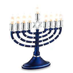 16-Inch Electric Menorah in Blue and Silver