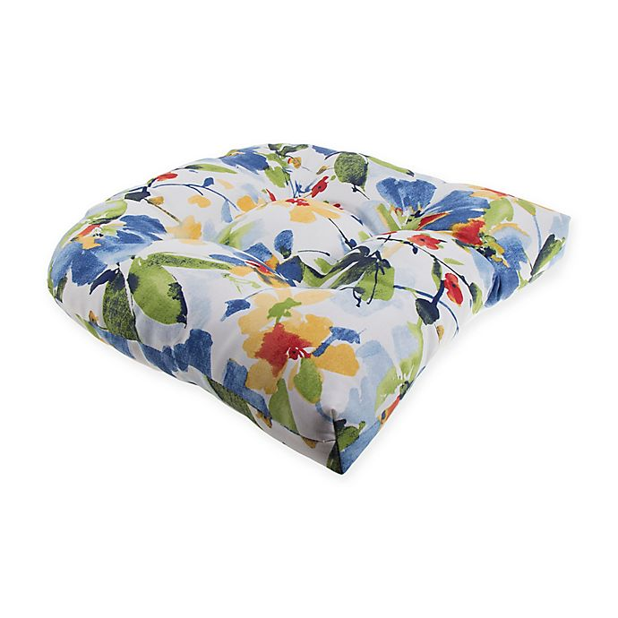 Alternate image 1 for Print Indoor/Outdoor Tufted Cushion in Cobalt Calais