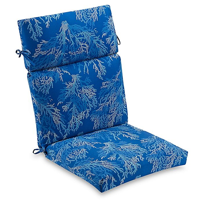Alternate image 1 for Outdoor High Back Chair Cushion in Cobalt Sea Coral