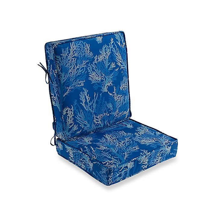 Alternate image 1 for Sea Coral 2-Piece Outdoor Deep Seat Cushion in Cobalt