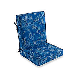 Sea Coral 2-Piece Outdoor Deep Seat Cushion in Cobalt