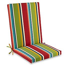 Brady Stripe Folding Indoor/Outdoor Wicker Chair Cushion in Cherry