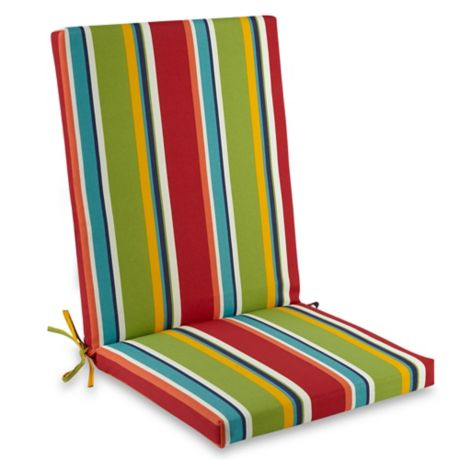 buy brady stripe folding indoor outdoor wicker chair cushion in cherry from bed bath beyond. Black Bedroom Furniture Sets. Home Design Ideas