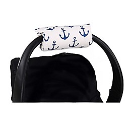 The Peanutshell™ Carrier Cushion and Car Seat Strap Cover Set in Navy Anchor