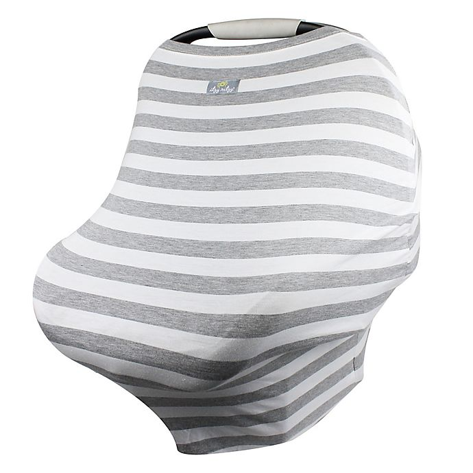 Alternate image 1 for Itzy Ritzy® Mom Boss™ Multi-Use Cover in Heather Grey/Blue Stripes