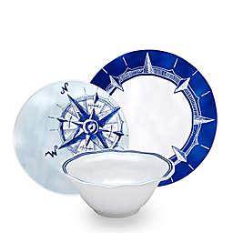 Q Squared Melamine Portsmouth 12-Piece Dinnerware Set in Blue