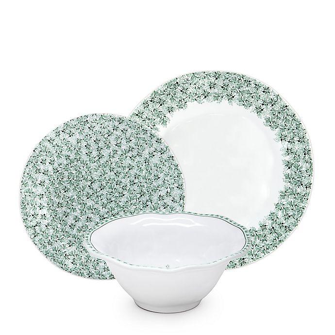 Alternate image 1 for Q Squared Melamine Yultetide12-Piece Dinnerware Set in Green/White