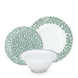 Q Squared Yultetide 12-Piece Melamine Dinnerware Set in Green/White