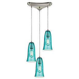 ELK Lighting Cascading 3-Light Hammered Glass Pendant in Satin Nickel with Teal Shades