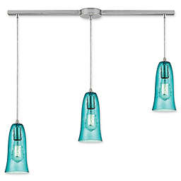 ELK Lighting Hammered Glass 3-Light Pendant in Satin Teal with Teal Shades