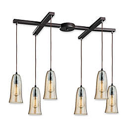ELK Lighting Hammered Glass 6-Light Pendant in Oil Rubbed Bronze with Amber Shades