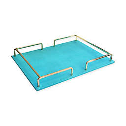 Accents by Jay Round Shagrin Tray with Gold Rail in Cream