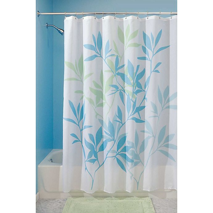 Alternate image 1 for iDesign® 72-Inch x 72-Inch Leaves Fabric Shower Curtain in Blue/Green