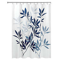iDesign® 72-Inch x 72-Inch Leaves Fabric Shower Curtain in Navy