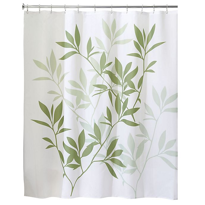 Alternate image 1 for iDesign® 72-Inch x 84-Inch Long Leaves Fabric Shower Curtain in Green