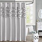 Intelligent Design Aurora Ruffle Shower Curtain in Grey